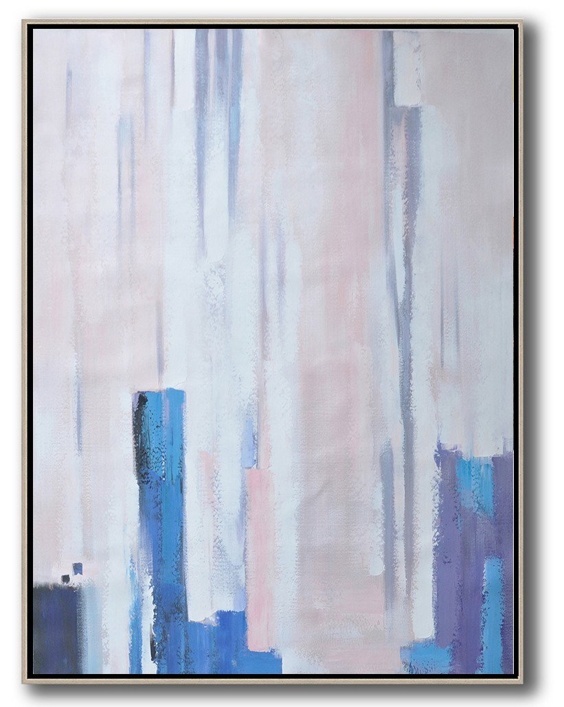 Large Abstract Art,Vertical Palette Knife Contemporary Art,Giant Canvas Wall Art,Pink,Blue,Purple,White.etc